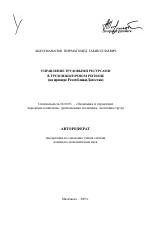Управление трудовыми ресурсами в трудоизбыточном регионе тема  Управление трудовыми ресурсами в трудоизбыточном регионе тема автореферата по экономике скачайте бесплатно автореферат диссертации