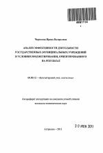 Анализ эффективности деятельности государственных муниципальных  Автореферат диссертации по теме Анализ эффективности деятельности государственных муниципальных учреждений в условиях бюджетирования ориентированного на