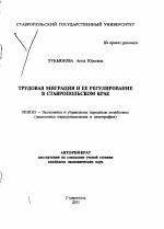 Трудовая миграция и ее регулирование в Ставропольском крае тема  Трудовая миграция и ее регулирование в Ставропольском крае тема автореферата по экономике скачайте бесплатно
