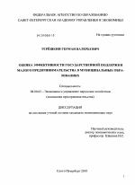 Государственная поддержка малого и среднего предпринимательства диссертация 1243