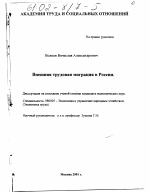 Внешняя трудовая миграция в России тема научной работы скачать  Внешняя трудовая миграция в России тема диссертации по экономике скачайте бесплатно в экономической библиотеке